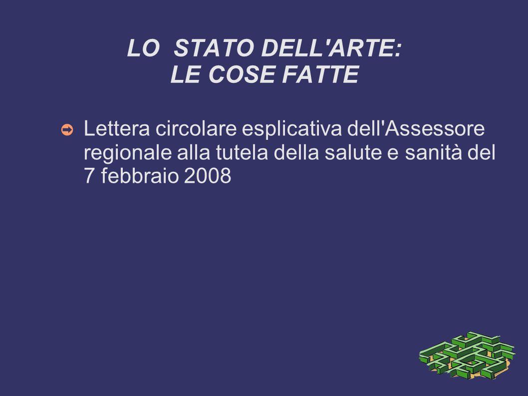 LO STATO DELL'ARTE: LE COSE FATTE Lettera circolare esplicativa dell'Assessore regionale alla tutela della salute e sanità del 7 febbraio 2008