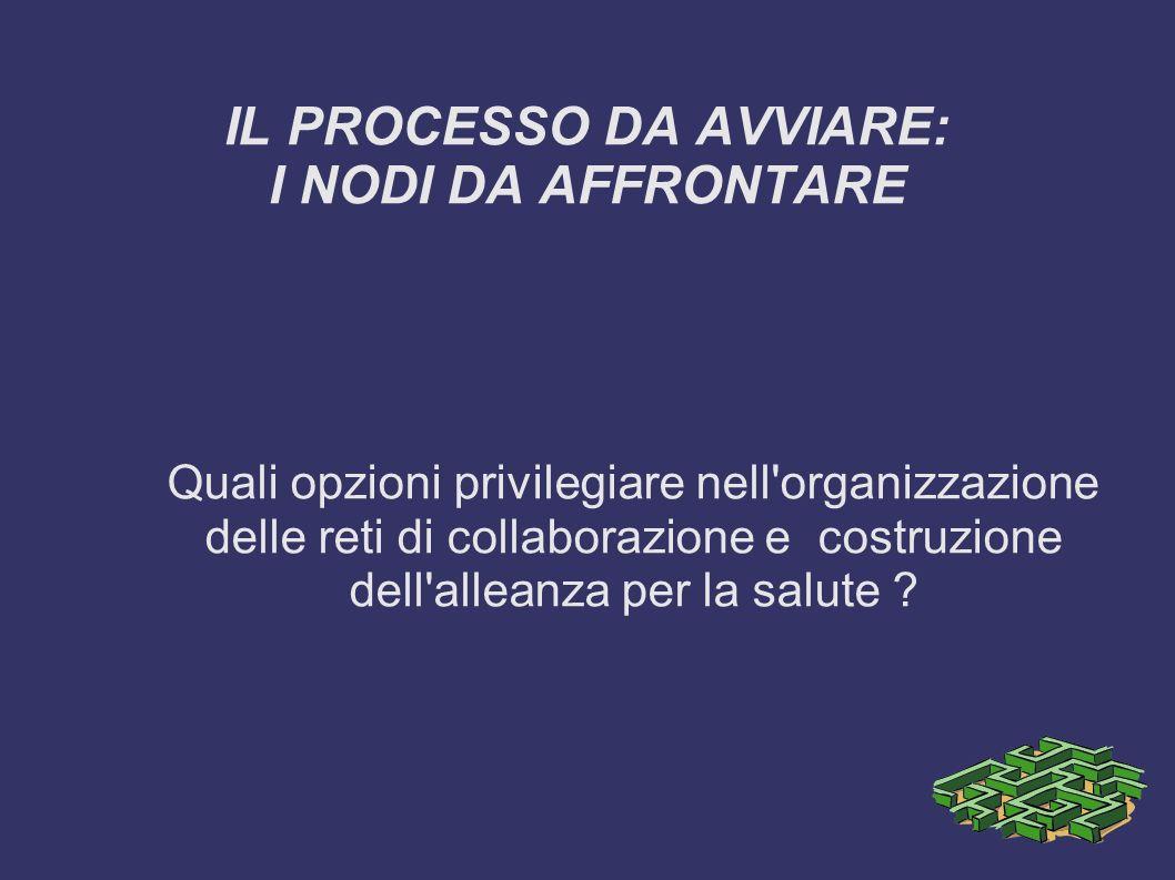 IL PROCESSO DA AVVIARE: I NODI DA AFFRONTARE Quali opzioni privilegiare nell'organizzazione delle reti di collaborazione e costruzione dell'alleanza p