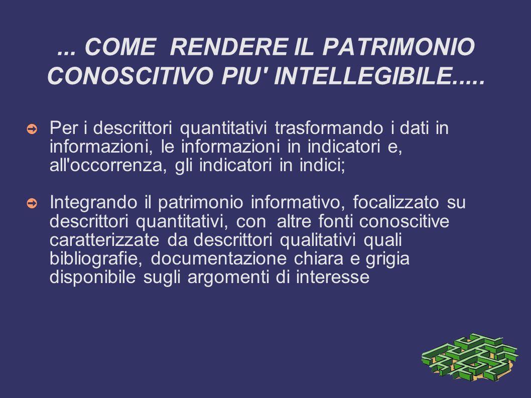 ... COME RENDERE IL PATRIMONIO CONOSCITIVO PIU' INTELLEGIBILE..... Per i descrittori quantitativi trasformando i dati in informazioni, le informazioni