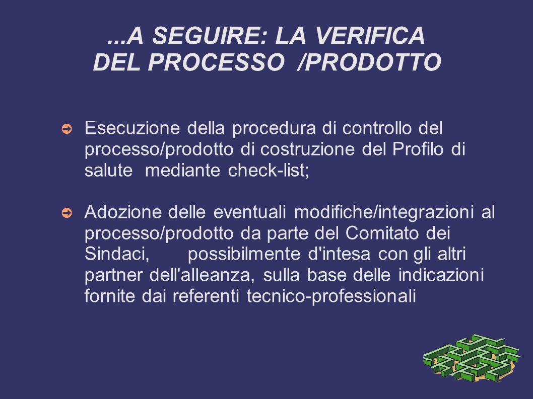 ...A SEGUIRE: LA VERIFICA DEL PROCESSO /PRODOTTO Esecuzione della procedura di controllo del processo/prodotto di costruzione del Profilo di salute me