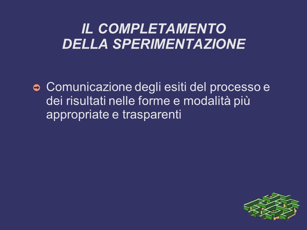 IL COMPLETAMENTO DELLA SPERIMENTAZIONE Comunicazione degli esiti del processo e dei risultati nelle forme e modalità più appropriate e trasparenti