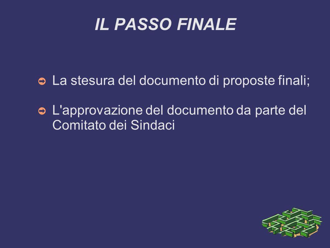 IL PASSO FINALE La stesura del documento di proposte finali; L'approvazione del documento da parte del Comitato dei Sindaci