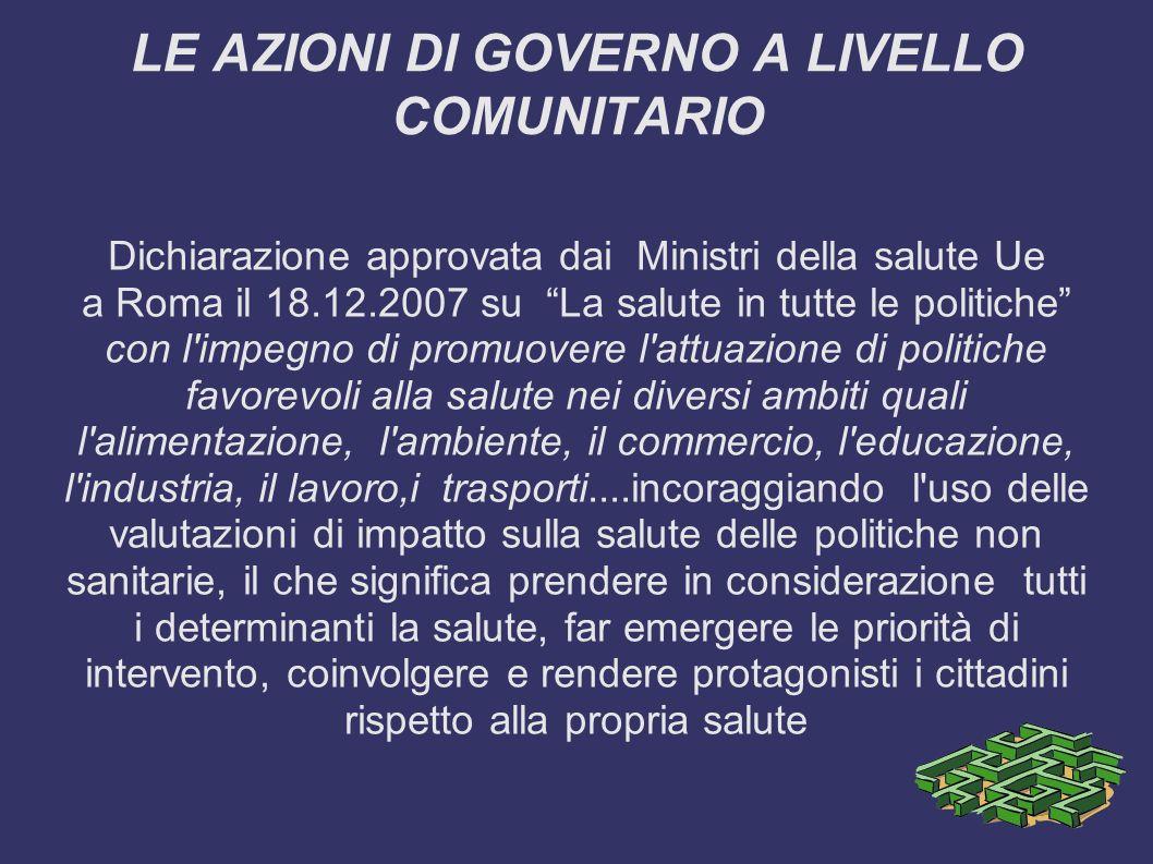 LE AZIONI DI GOVERNO A LIVELLO COMUNITARIO Dichiarazione approvata dai Ministri della salute Ue a Roma il 18.12.2007 su La salute in tutte le politich