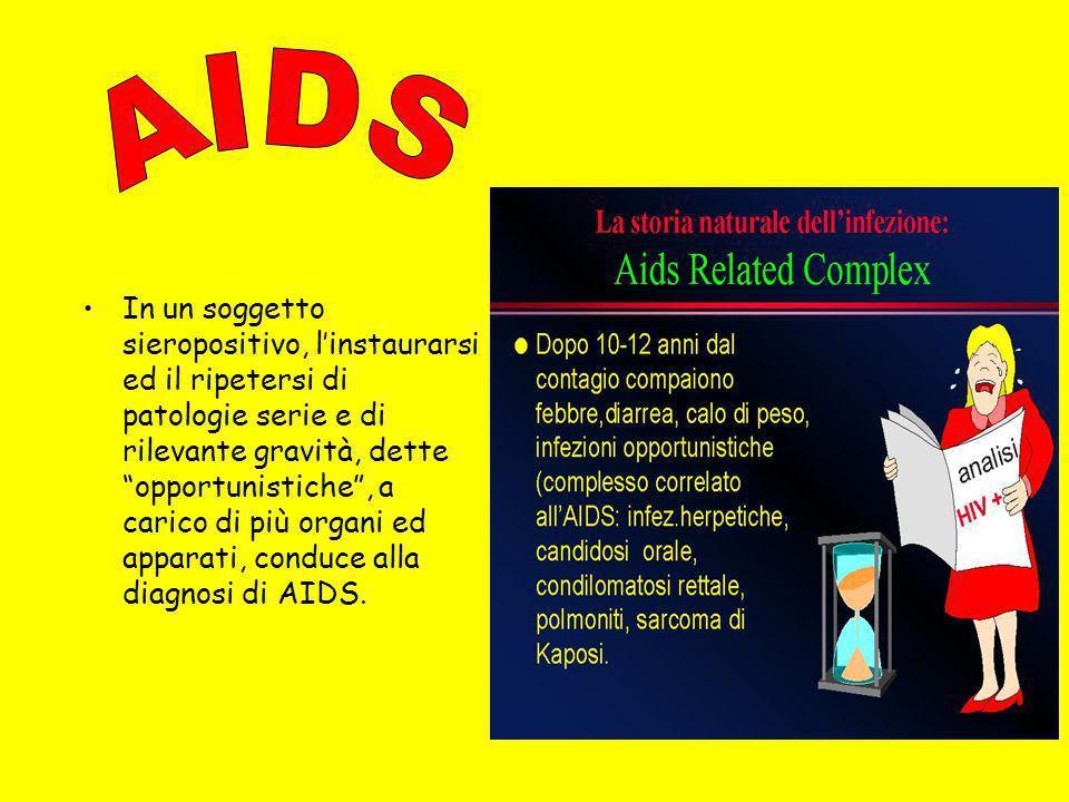 La condizione di sieropositività senza sintomi può durare anni ed è strettamente dipendente dallequilibrio tra le difese dellorganismo(CD4=va lore acc