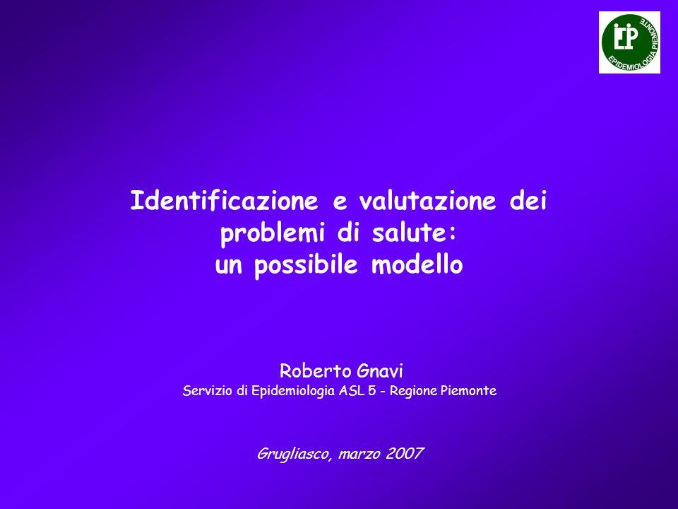 Identificazione e valutazione dei problemi di salute: un possibile modello Grugliasco, marzo 2007 Roberto Gnavi Servizio di Epidemiologia ASL 5 - Regione Piemonte