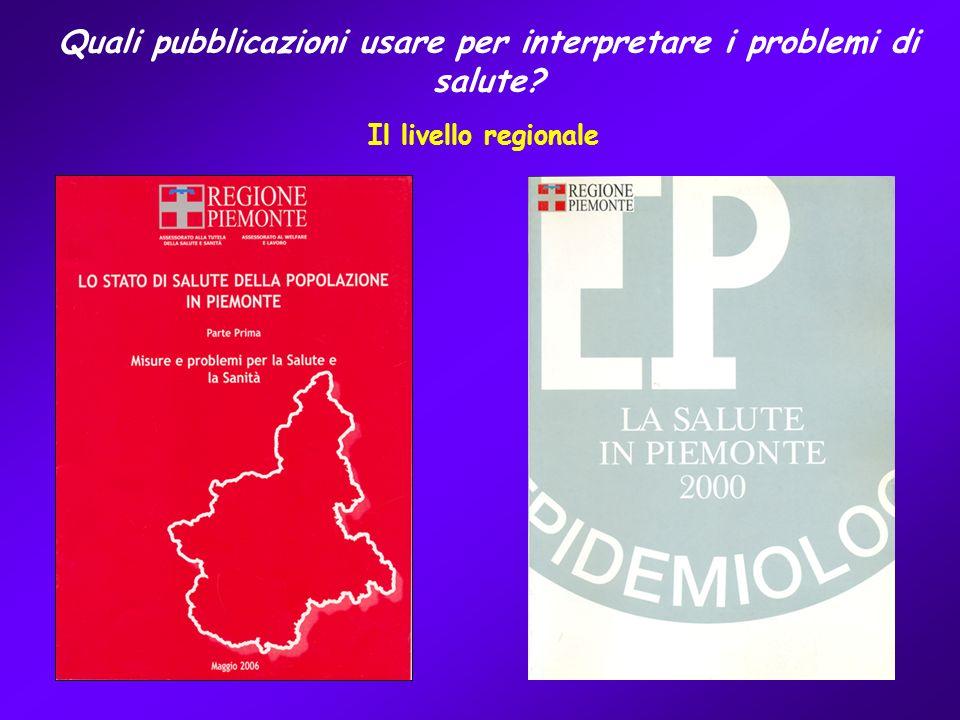 Quali pubblicazioni usare per interpretare i problemi di salute Il livello regionale