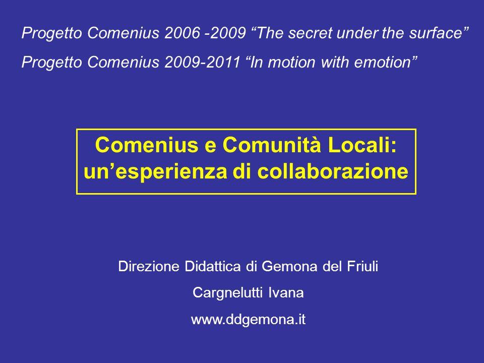 Comenius e Comunità Locali: unesperienza di collaborazione Direzione Didattica di Gemona del Friuli Cargnelutti Ivana www.ddgemona.it Progetto Comeniu