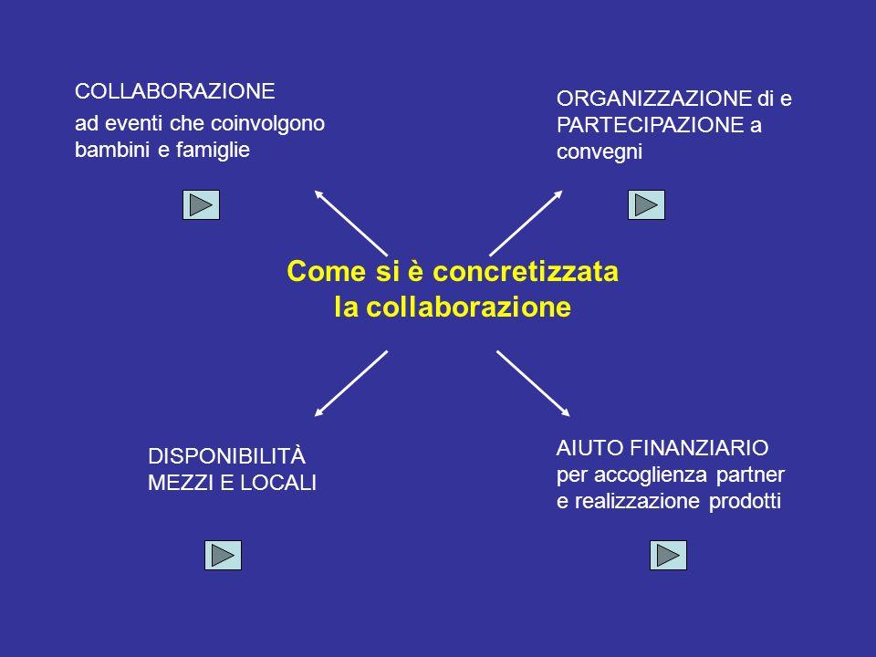 Come si è concretizzata la collaborazione ORGANIZZAZIONE di e PARTECIPAZIONE a convegni AIUTO FINANZIARIO per accoglienza partner e realizzazione prod