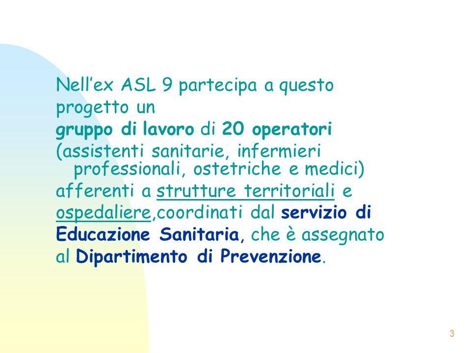 3 Nellex ASL 9 partecipa a questo progetto un gruppo di lavoro di 20 operatori (assistenti sanitarie, infermieri professionali, ostetriche e medici) a