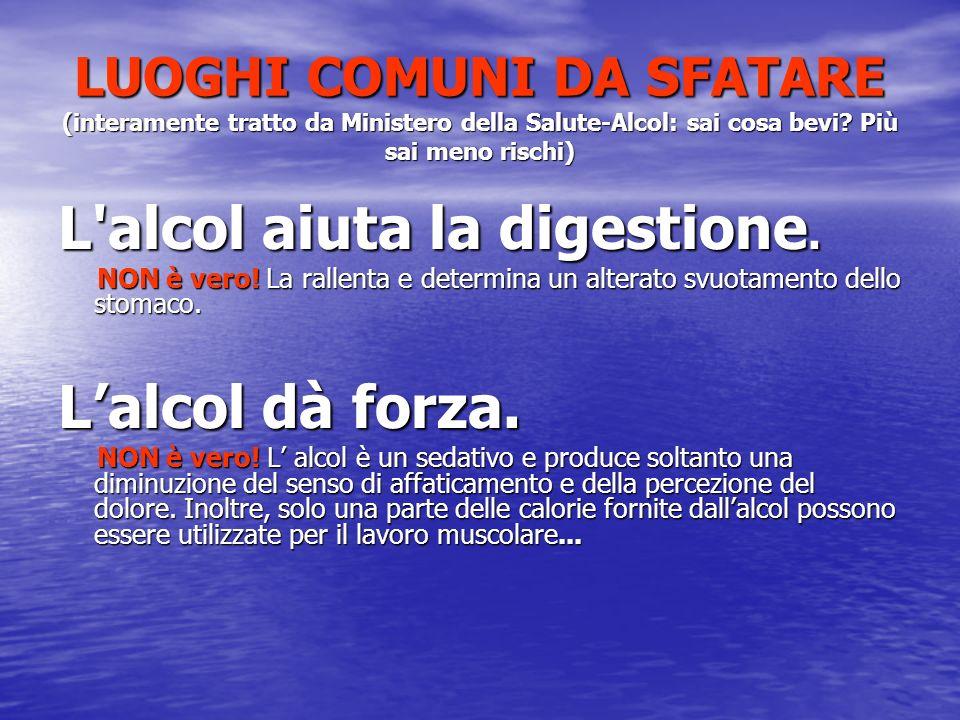 LUOGHI COMUNI DA SFATARE (interamente tratto da Ministero della Salute-Alcol: sai cosa bevi.