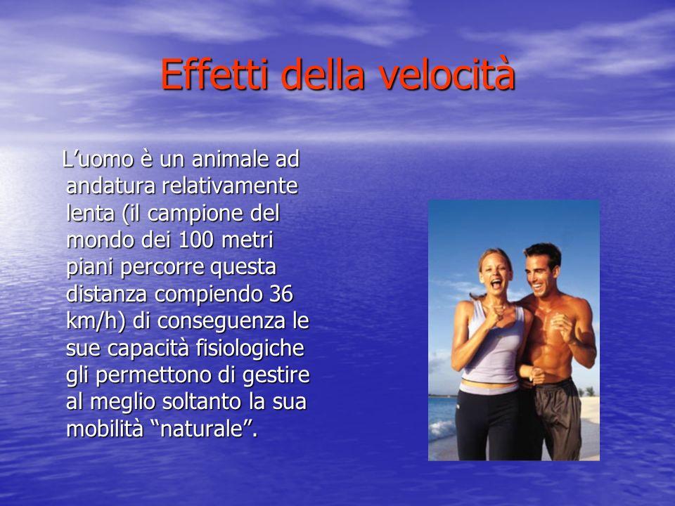 Effetti della velocità Luomo è un animale ad andatura relativamente lenta (il campione del mondo dei 100 metri piani percorre questa distanza compiendo 36 km/h) di conseguenza le sue capacità fisiologiche gli permettono di gestire al meglio soltanto la sua mobilità naturale.