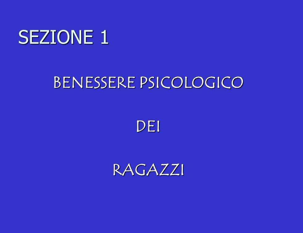 SEZIONE 1 BENESSERE PSICOLOGICO DEIRAGAZZI