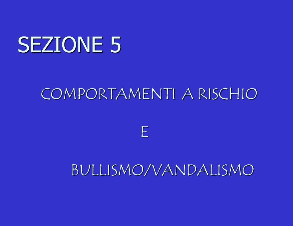 SEZIONE 5 COMPORTAMENTI A RISCHIO E BULLISMO/VANDALISMO