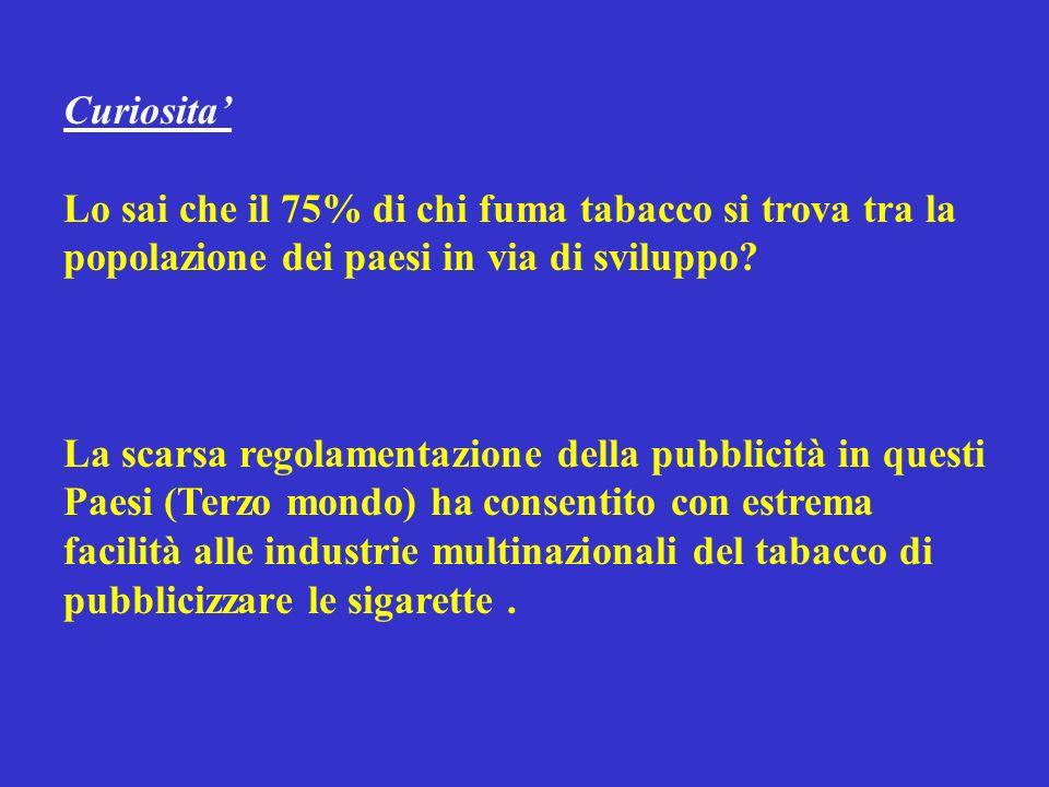 Curiosita Lo sai che il 75% di chi fuma tabacco si trova tra la popolazione dei paesi in via di sviluppo.