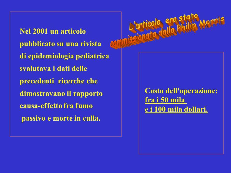 Nel 2001 un articolo pubblicato su una rivista di epidemiologia pediatrica svalutava i dati delle precedenti ricerche che dimostravano il rapporto causa-effetto fra fumo passivo e morte in culla.