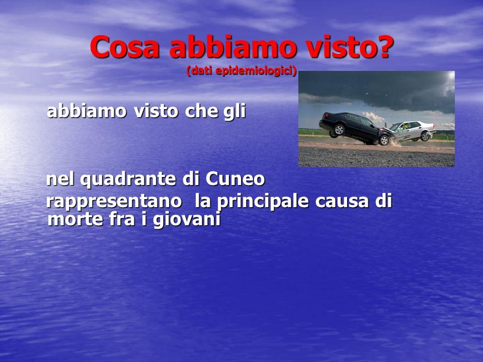 Cosa abbiamo visto? (dati epidemiologici) abbiamo visto che gli abbiamo visto che gli nel quadrante di Cuneo nel quadrante di Cuneo rappresentano la p