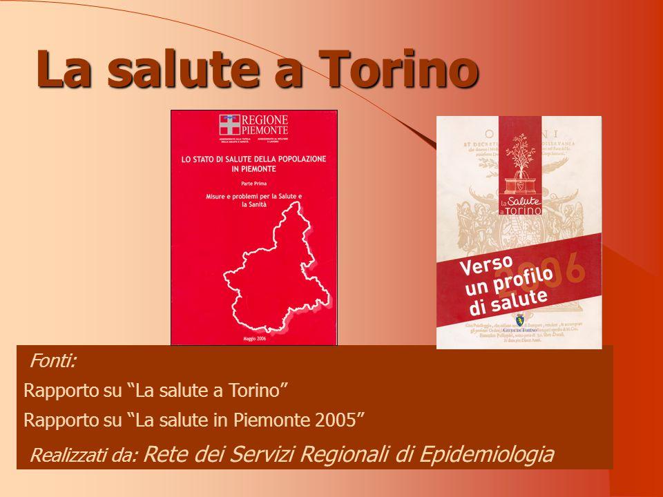 Fonti: Rapporto su La salute a Torino Rapporto su La salute in Piemonte 2005 Realizzati da: Rete dei Servizi Regionali di Epidemiologia La salute a Torino