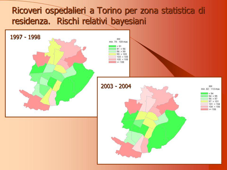 Ricoveri ospedalieri a Torino per zona statistica di residenza.
