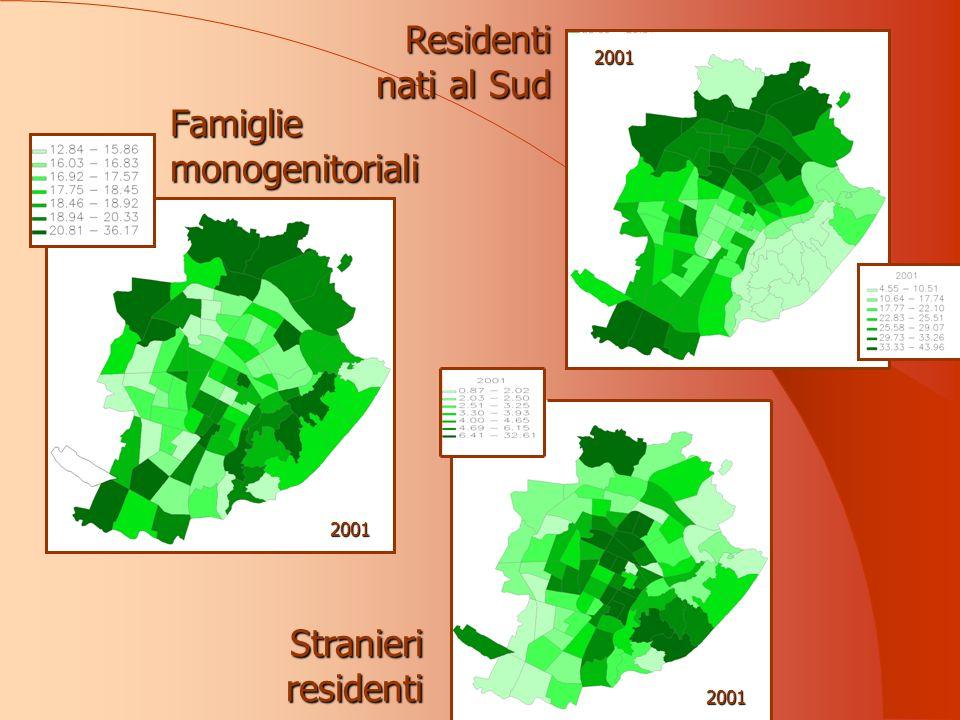 Famiglie monogenitoriali 2001 Residenti nati al Sud Stranieri residenti 2001 2001