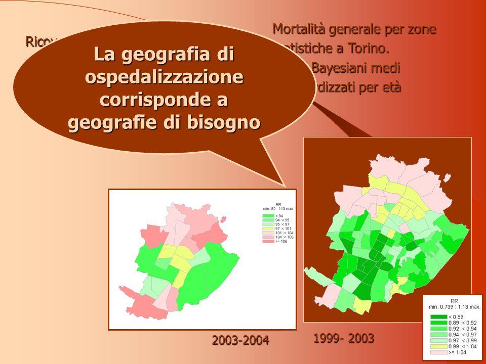 Mortalità generale per zone statistiche a Torino.