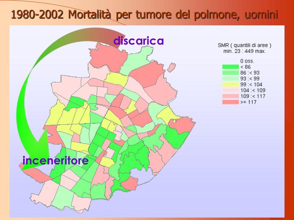inceneritore discarica 1980-2002 Mortalità per tumore del polmone, uomini