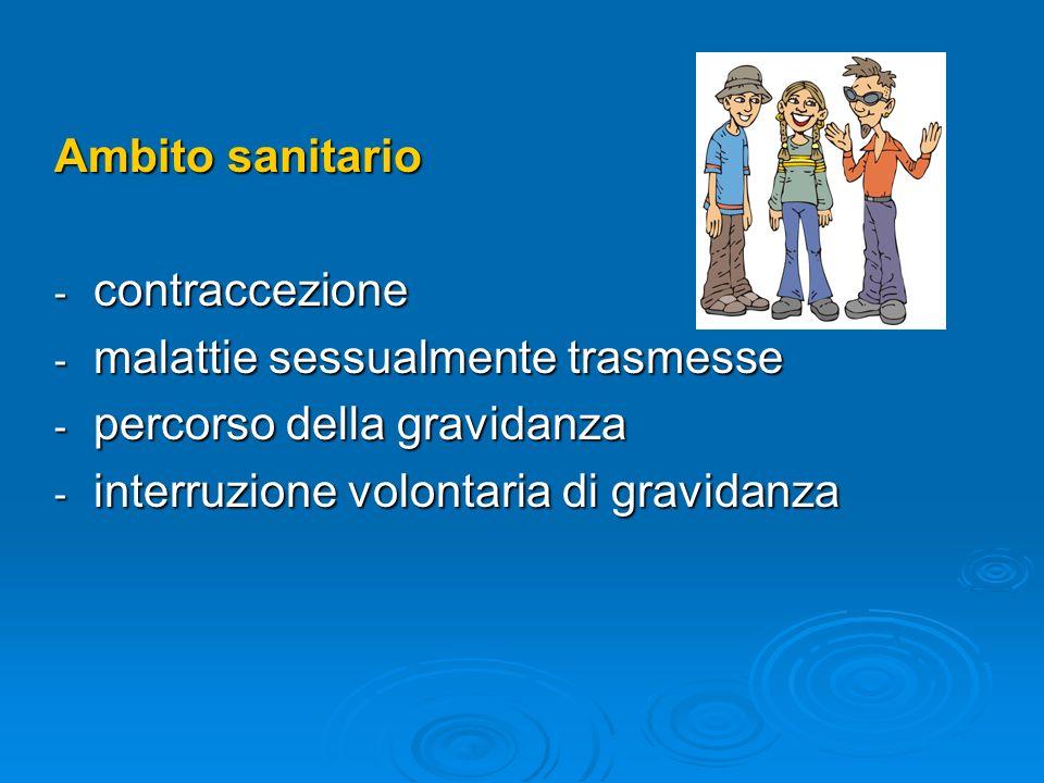 Ambito sanitario - contraccezione - malattie sessualmente trasmesse - percorso della gravidanza - interruzione volontaria di gravidanza