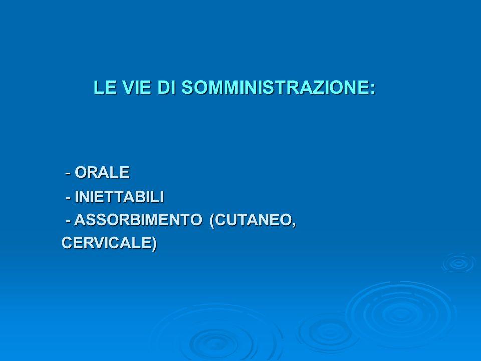 LE VIE DI SOMMINISTRAZIONE: - ORALE - INIETTABILI - ASSORBIMENTO (CUTANEO, CERVICALE) CERVICALE)