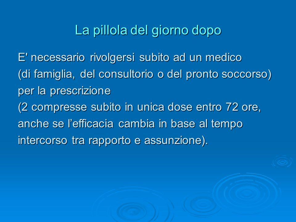 La pillola del giorno dopo E' necessario rivolgersi subito ad un medico (di famiglia, del consultorio o del pronto soccorso) per la prescrizione (2 co