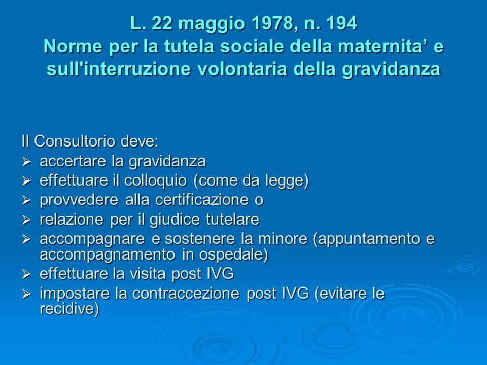 L. 22 maggio 1978, n. 194 Norme per la tutela sociale della maternita e sull'interruzione volontaria della gravidanza Il Consultorio deve: accertare l