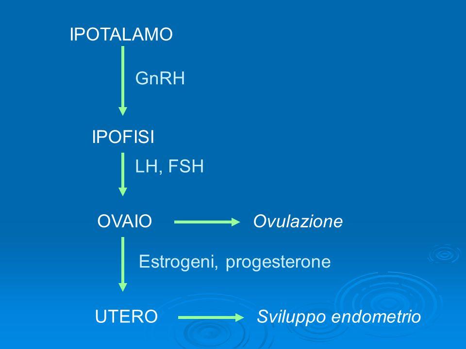 IPOTALAMO IPOFISI GnRH OVAIO LH, FSH UTERO Estrogeni, progesterone Ovulazione Sviluppo endometrio