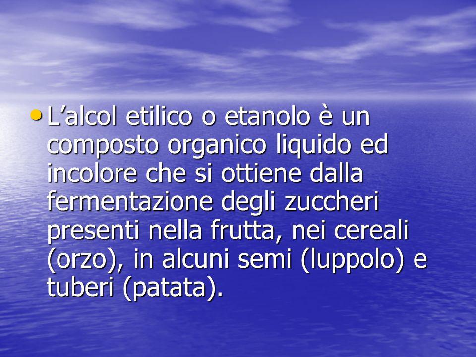 Lalcol etilico o etanolo è un composto organico liquido ed incolore che si ottiene dalla fermentazione degli zuccheri presenti nella frutta, nei cerea