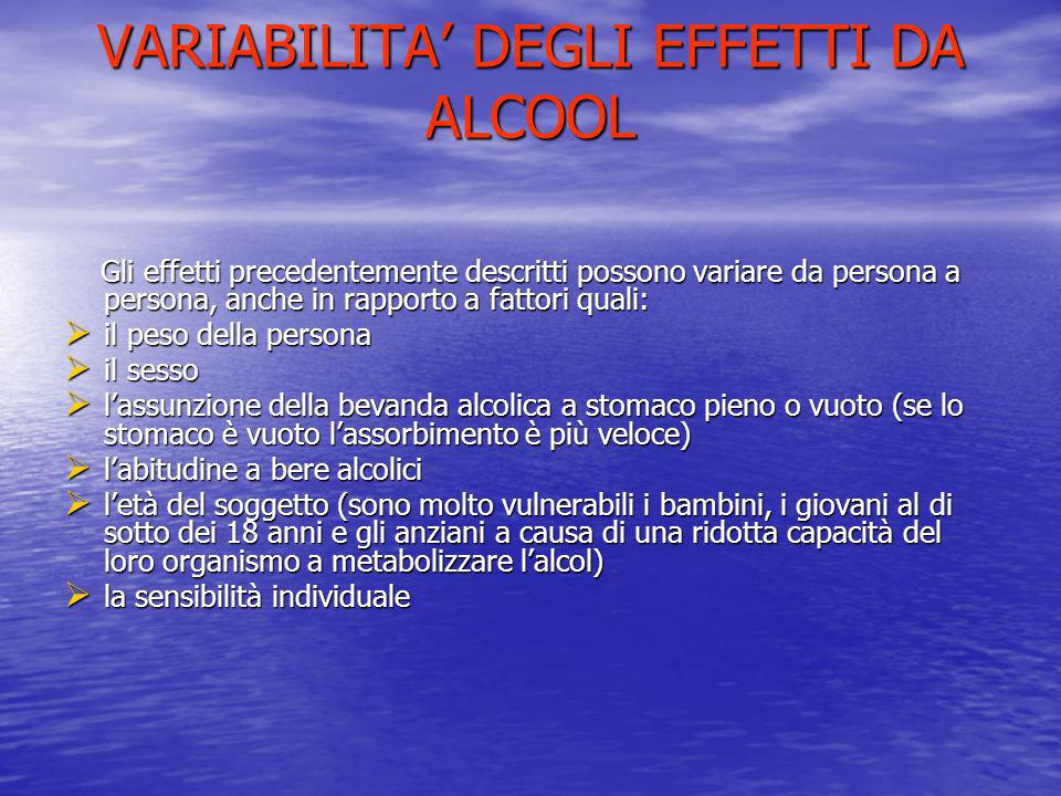 VARIABILITA DEGLI EFFETTI DA ALCOOL Gli effetti precedentemente descritti possono variare da persona a persona, anche in rapporto a fattori quali: Gli