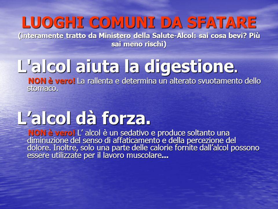 LUOGHI COMUNI DA SFATARE (interamente tratto da Ministero della Salute-Alcol: sai cosa bevi? Più sai meno rischi) L'alcol aiuta la digestione. NON è v