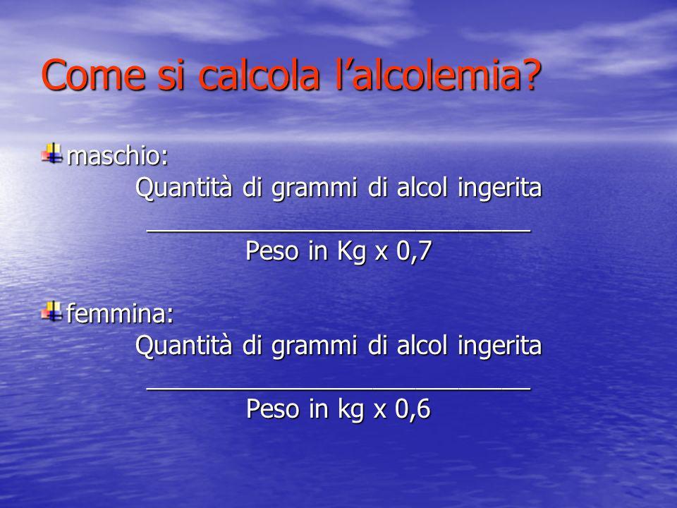 Come si calcola lalcolemia? maschio: Quantità di grammi di alcol ingerita ___________________________ Peso in Kg x 0,7 femmina: Quantità di grammi di