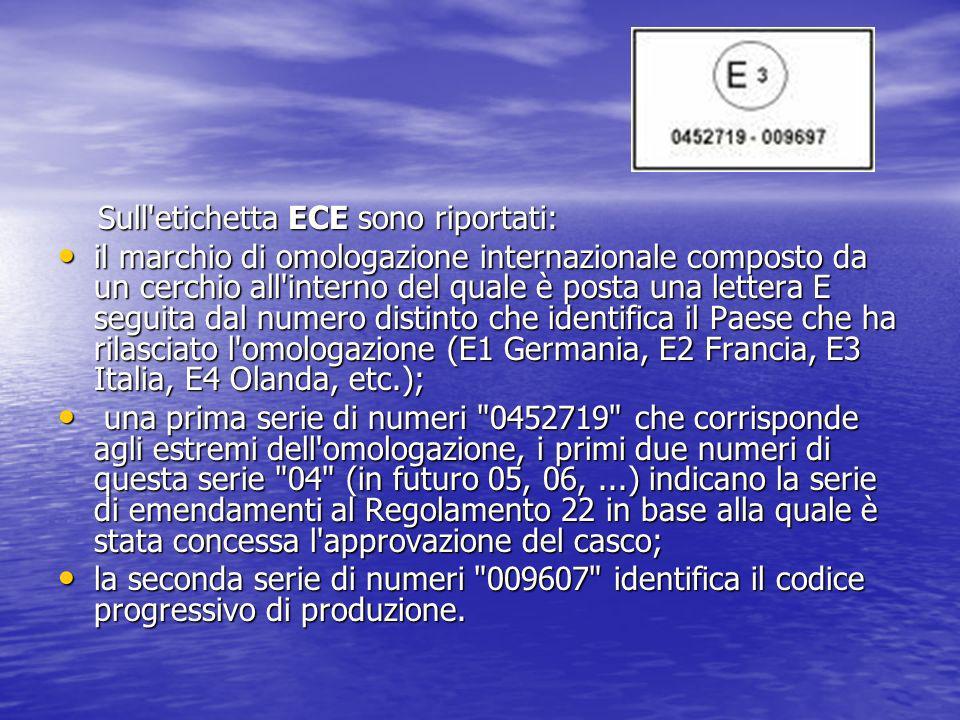 Sull'etichetta ECE sono riportati: Sull'etichetta ECE sono riportati: il marchio di omologazione internazionale composto da un cerchio all'interno del
