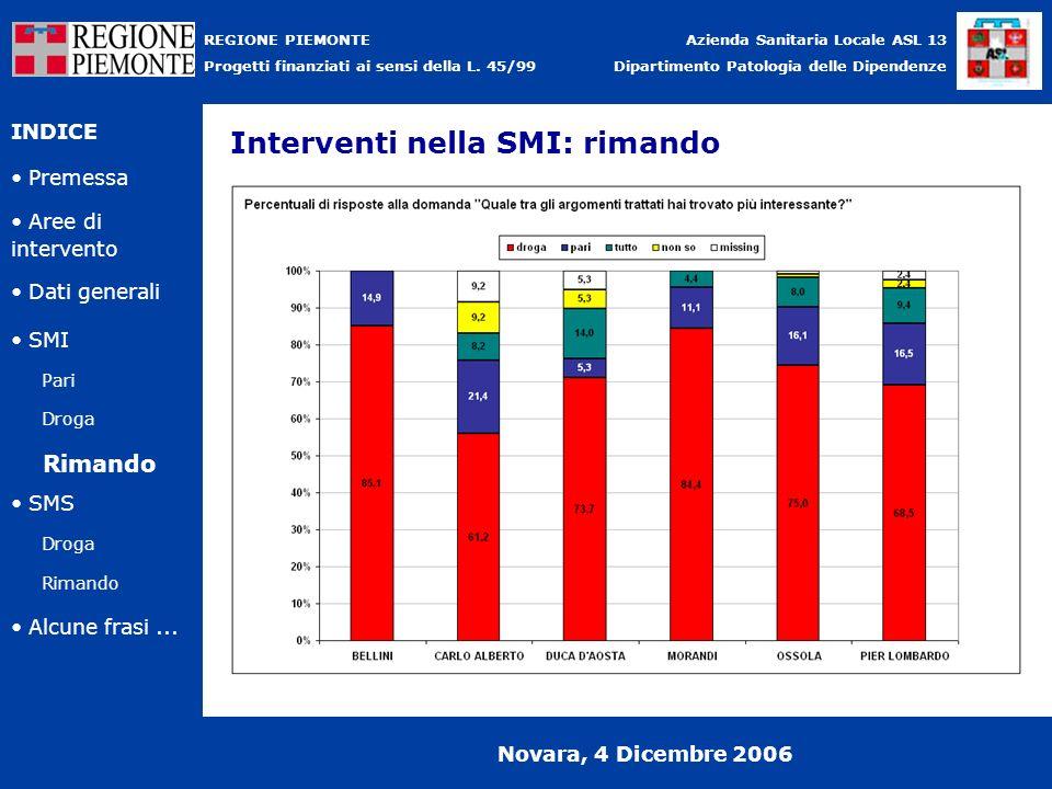 Premessa Azienda Sanitaria Locale ASL 13 Dipartimento Patologia delle Dipendenze INDICE Aree di intervento Pari Droga Dati generali SMI REGIONE PIEMON
