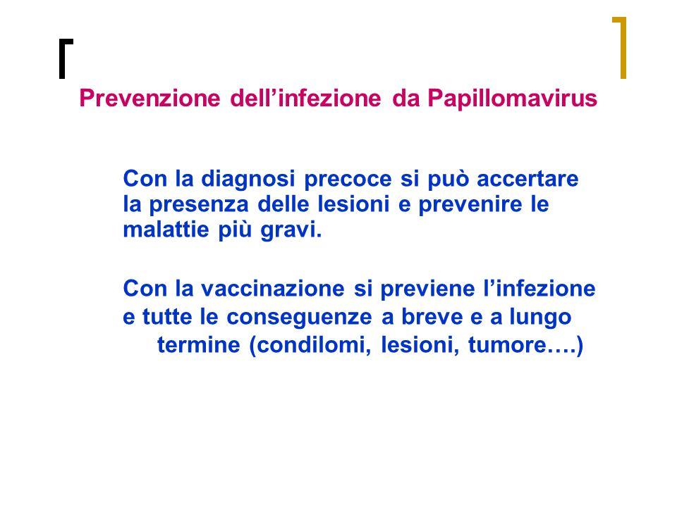Con la diagnosi precoce si può accertare la presenza delle lesioni e prevenire le malattie più gravi. Con la vaccinazione si previene linfezione e tut