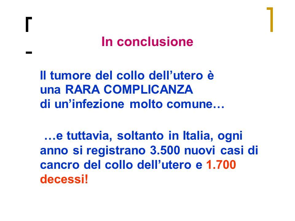 In conclusione Il tumore del collo dellutero è una RARA COMPLICANZA di uninfezione molto comune… …e tuttavia, soltanto in Italia, ogni anno si registr
