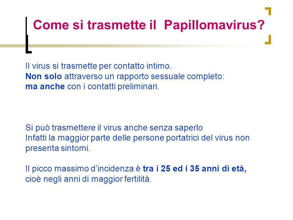 Come si trasmette il Papillomavirus? Il virus si trasmette per contatto intimo. Non solo attraverso un rapporto sessuale completo: ma anche con i cont