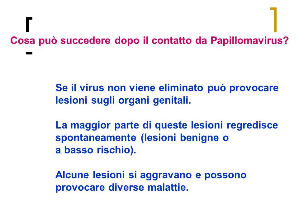 Se il virus non viene eliminato può provocare lesioni sugli organi genitali. La maggior parte di queste lesioni regredisce spontaneamente (lesioni ben