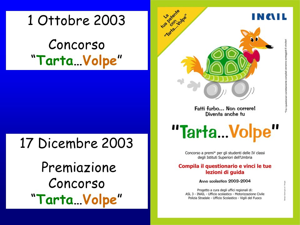 1 Ottobre 2003 ConcorsoTarta…Volpe 17 Dicembre 2003 Premiazione ConcorsoTarta…Volpe