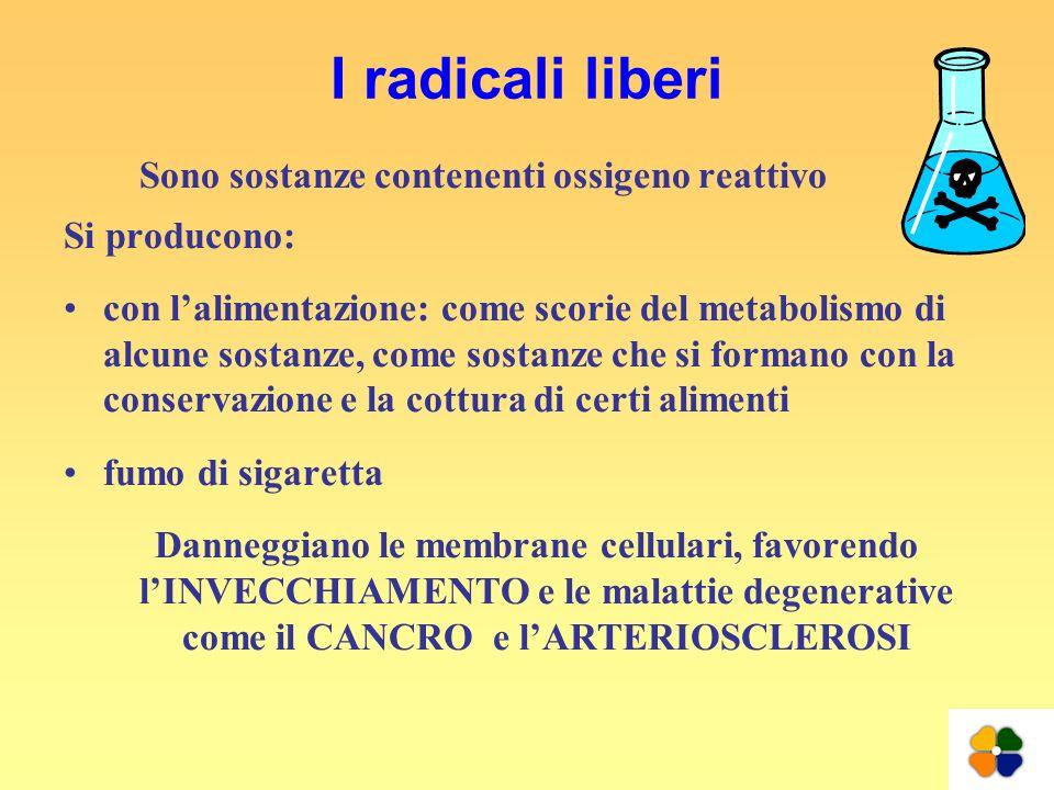 I radicali liberi Sono sostanze contenenti ossigeno reattivo Si producono: con lalimentazione: come scorie del metabolismo di alcune sostanze, come so