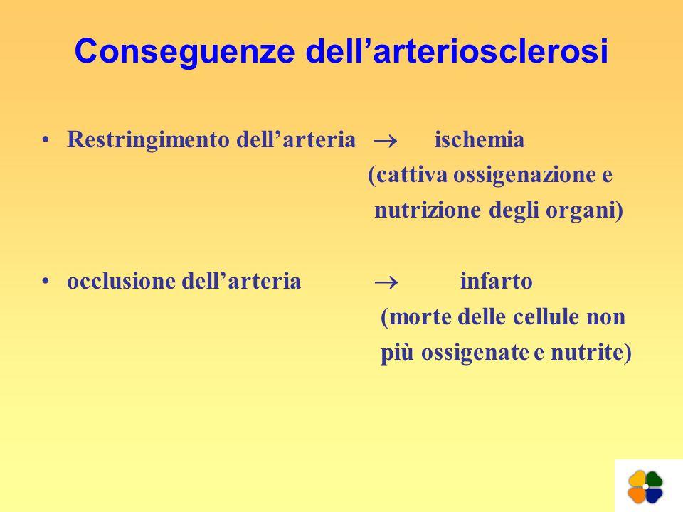 Conseguenze dellarteriosclerosi Restringimento dellarteria ischemia (cattiva ossigenazione e nutrizione degli organi) occlusione dellarteria infarto (