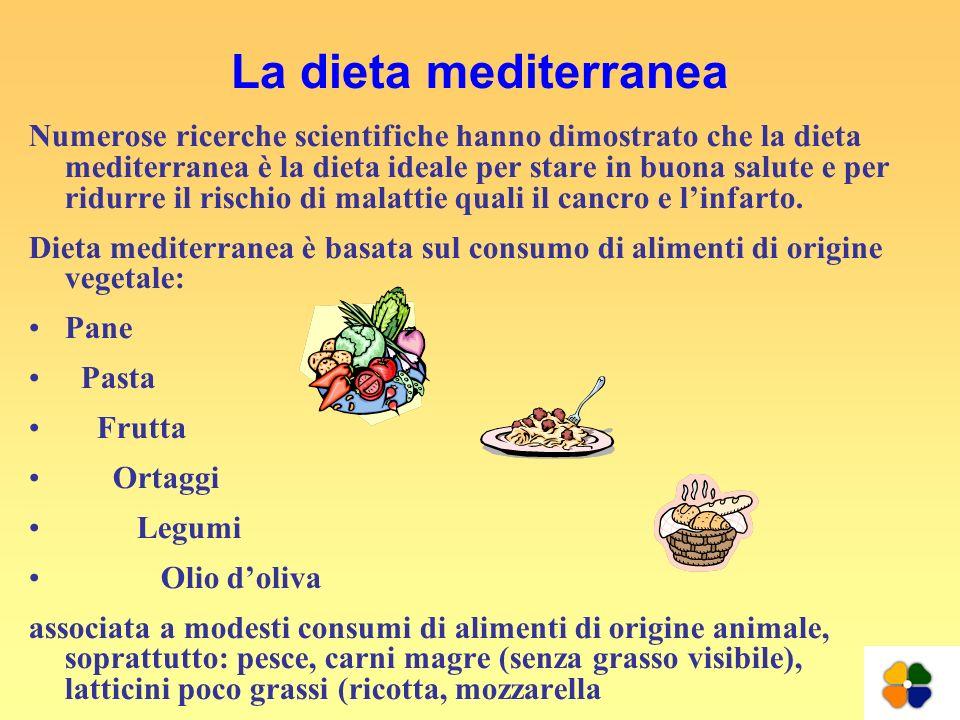 La dieta mediterranea Numerose ricerche scientifiche hanno dimostrato che la dieta mediterranea è la dieta ideale per stare in buona salute e per ridu