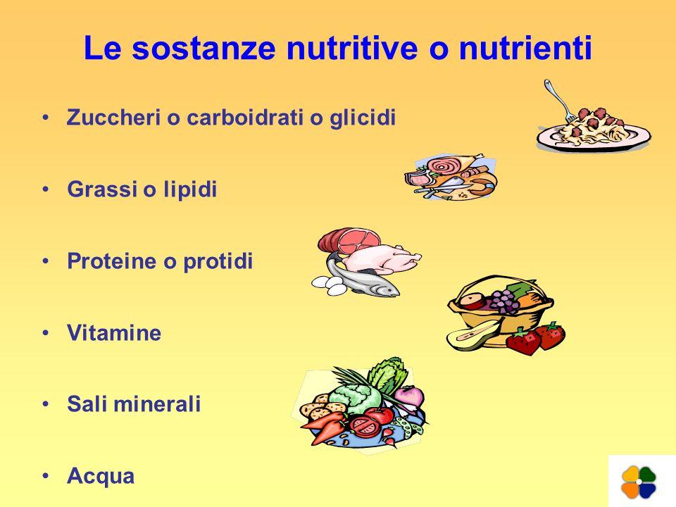 Le sostanze nutritive o nutrienti Zuccheri o carboidrati o glicidi Grassi o lipidi Proteine o protidi Vitamine Sali minerali Acqua