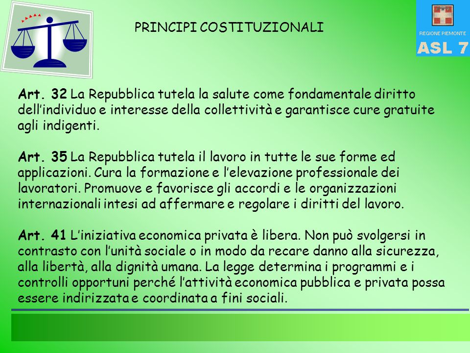 PRINCIPI COSTITUZIONALI Art.