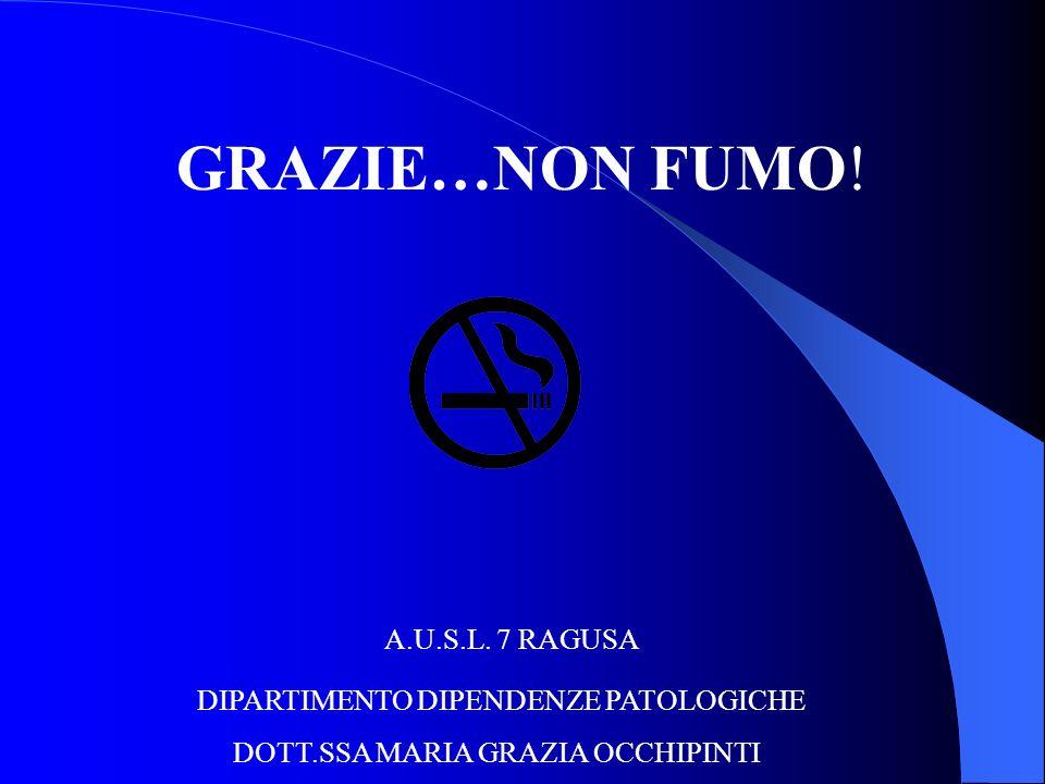 GRAZIE…NON FUMO! A.U.S.L. 7 RAGUSA DIPARTIMENTO DIPENDENZE PATOLOGICHE DOTT.SSA MARIA GRAZIA OCCHIPINTI