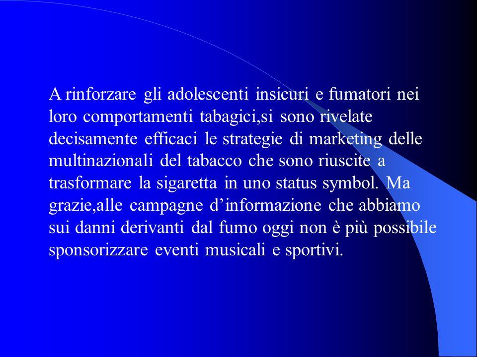 A rinforzare gli adolescenti insicuri e fumatori nei loro comportamenti tabagici,si sono rivelate decisamente efficaci le strategie di marketing delle