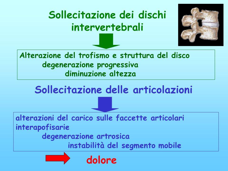 Sollecitazione dei dischi intervertebrali Alterazione del trofismo e struttura del disco degenerazione progressiva diminuzione altezza Sollecitazione