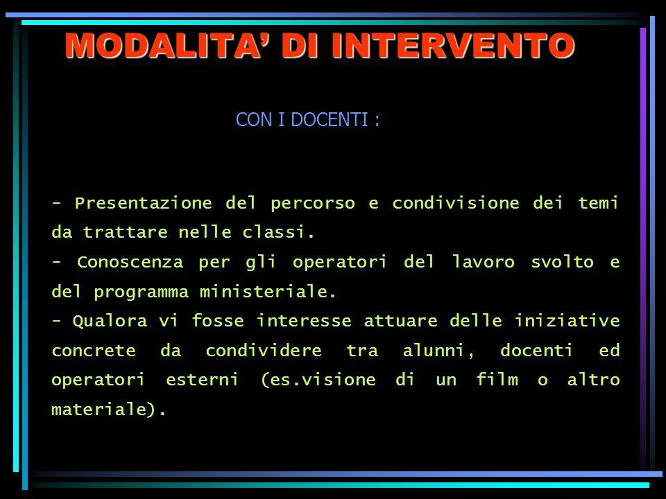 MODALITA DI INTERVENTO - Presentazione del percorso e condivisione dei temi da trattare nelle classi. - Conoscenza per gli operatori del lavoro svolto